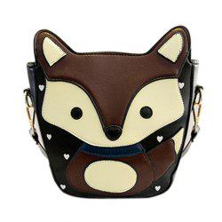 Heart Pattern Fox Crossbody Bag - COFFEE