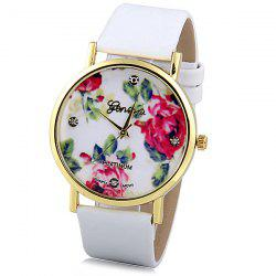 Geneva Luxury Quartz Watch with Diamonds Golden Plate Analog Indicate Leather Watch Band Rose Pattern for Women - WHITE