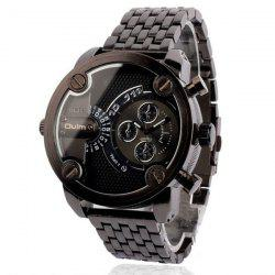 Oulm Luxury Waterproof Quartz Watch with Double Movt Analog Indicate Steel Watchband for Men -
