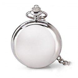 Luxury Design 12 Arabic Numbers Analog Flip Pocket Watch - SILVER