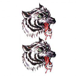 Fierce Wolf Head Pattern Waterproof Tattoo Sticker For Men