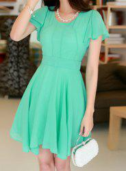 Stylish Scoop Neck Solid Color Short Sleeve Chiffon Dress For Women - WATER BLUE