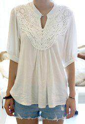 Half Sleeve Lace Splicing Blouse - WHITE
