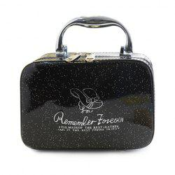 Stylish Print and Patent Leather Design Women's Cosmetic Bag -