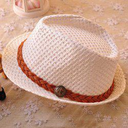 Sweet Knitted Belt Decorated Openwork Sun Hat For Kids -