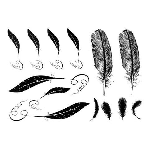 Trendy Chic Various Feather Pattern Tattoo Sticker For Women