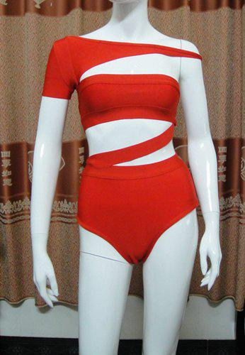 New High Waisted Stylish Off-The-Shoulder Solid Color Cut Out Women's Swimwear