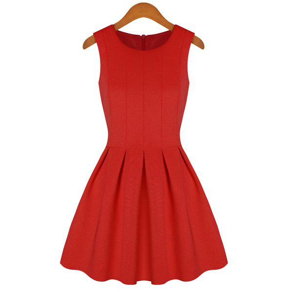 New Simple Style Scoop Collar Sleeveless Solid Color Flouncing Women's Sundress