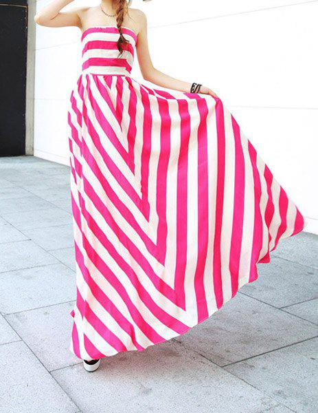 Sale Strapless Bandeau Striped Maxi Prom Party Dress
