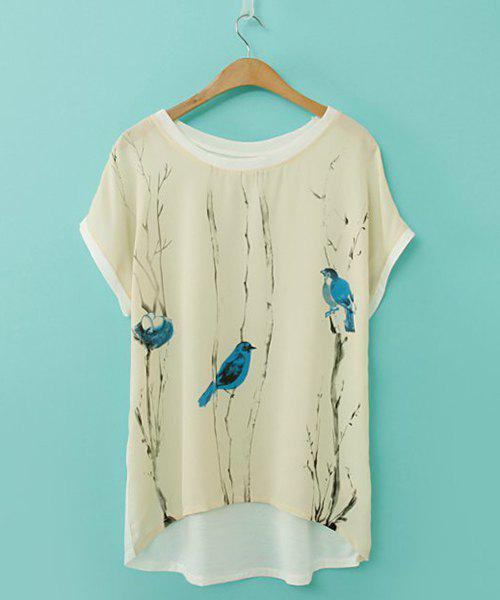 Affordable Elegant Scoop Neck Printed Loose-Fitting Short Sleeve Chiffon T-Shirt For Women