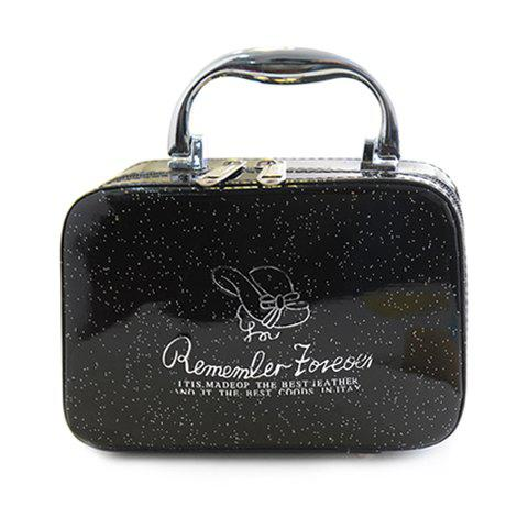 Fashion Stylish Print and Patent Leather Design Women's Cosmetic Bag