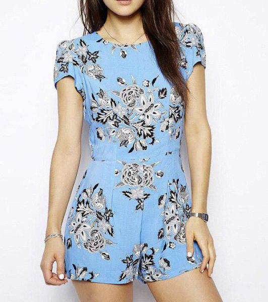 Trendy Pastoral Style Round Collar Floral Print Short Sleeves Women's Jumpsuits