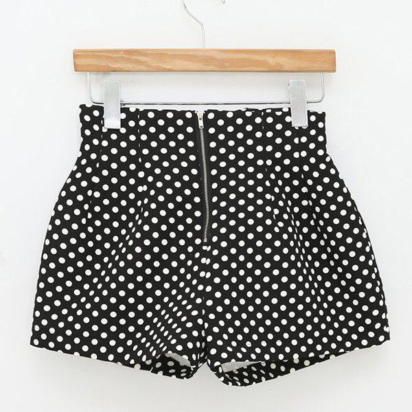 Shops Casual Polka Dot Print Zipper Up Women's Shorts