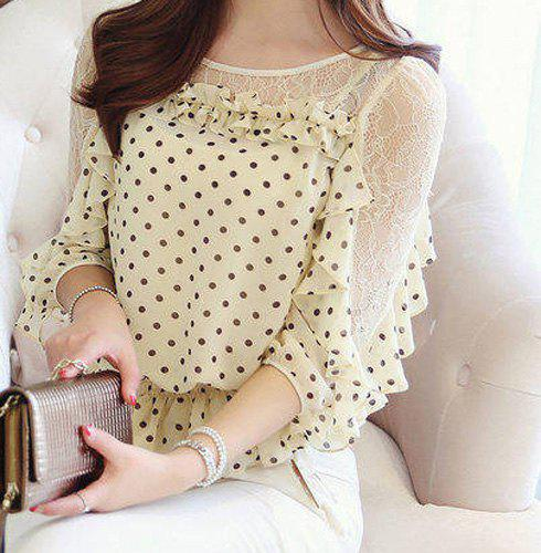 Best Chic Style Round Collar Lace Splicing Polka Dot Print Chiffon Women's Blouse