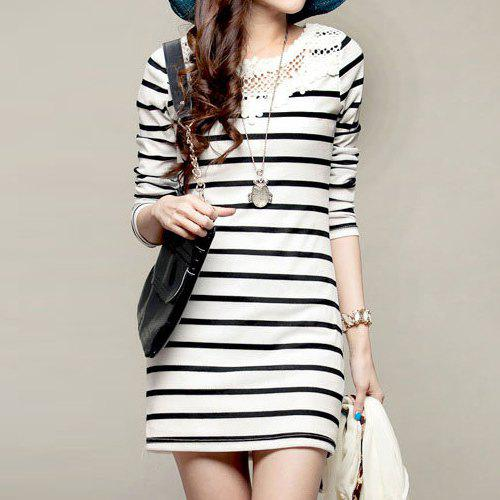 New Casual Style Stripe Long Sleeves Lace Scoop Neck Women's Dress