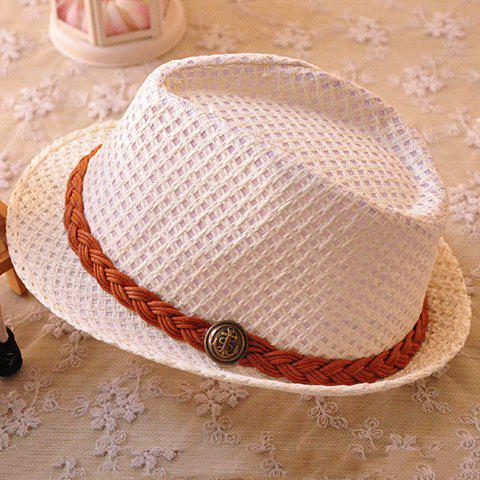 Unique Sweet Knitted Belt Decorated Openwork Sun Hat For Kids