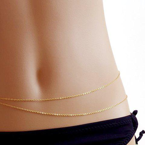 Sexy Double-Layer Belly Chain For WomenJEWELRY<br><br>Color: GOLDEN; Body Jewelry Type: Belly Chains; Metal Type: Alloy; Style: Trendy; Shape/Pattern: Others; Length: 82CM; Package Content: 1 x Belly Chain; Weight: 0.040kg;