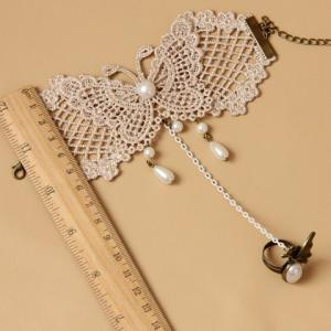 Faux Pearl Pendant Lace Butterfly Pattern Bracelet With a Ring - AS THE PICTURE
