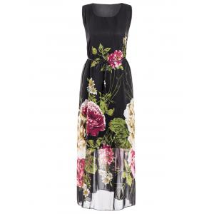 Plus Size Sleeveless Floral Print Maxi Dress