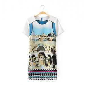 Trendy Style Scoop Collar Short Sleeve Castle Print Splicing Women's Dress