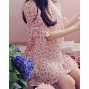Floral Print Bow Tie Casual Short Sleeve Shift Dress -