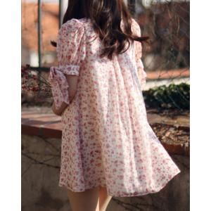 Floral Bow Tie Casual Short Sleeve Dress - PINK M