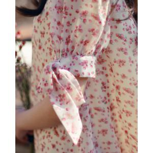Floral Print Bow Tie Casual Short Sleeve Shift Dress - PINK M