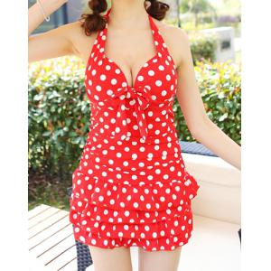 Halter Polka Dot One Piece Skirted Swimsuit