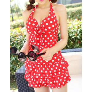 Halter Polka Dot One Piece Skirted Swimsuit - RED XL