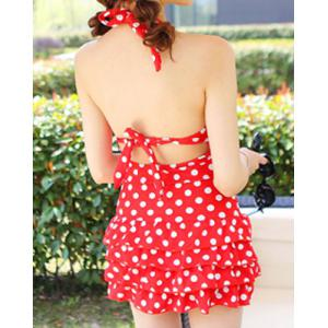 Halter Polka Dot One Piece Skirted Swimsuit - RED L