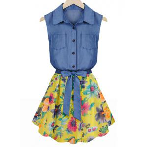 Floral Print Sleeveless Turn Down Collar Women's Faux Twinset Dress - Deep Blue - S