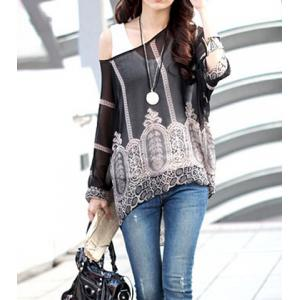 Stylish Scoop Neck 3/4 Sleeve Sleeve Printed Chiffon Blouse  For Women -