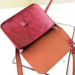 Vintage Style Solid Color and PU Leather Design Women's Crossbody Bag -