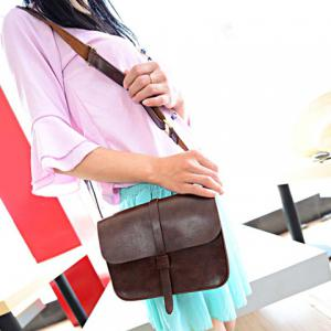 Vintage Style Solid Color and PU Leather Design Women's Crossbody Bag - BROWN