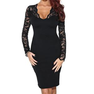 V Neck Lace Trim Long Sleeve Bodycon Dress