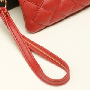 Elegant Checked and Solid Color Design Women's Clutch -