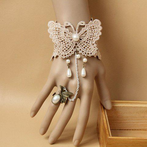 Unique Faux Pearl Pendant Lace Butterfly Pattern Bracelet With a Ring AS THE PICTURE