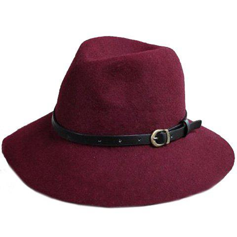 Sale Chic Belt Decorated Fedora Hat For Women