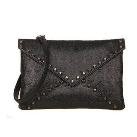 Online Stylish Black and Rivets Design Women's Clutch