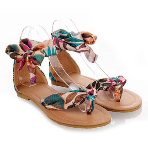 Fancy Bohemia Print and Flip-Flop Design Women's Sandals