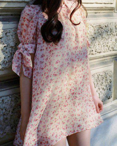 New Floral Bow Tie Casual Short Sleeve Dress PINK M