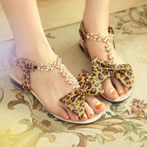 Outfit Leopard Print Rhinestone Bow Flat Sandals - 39 BROWN Mobile