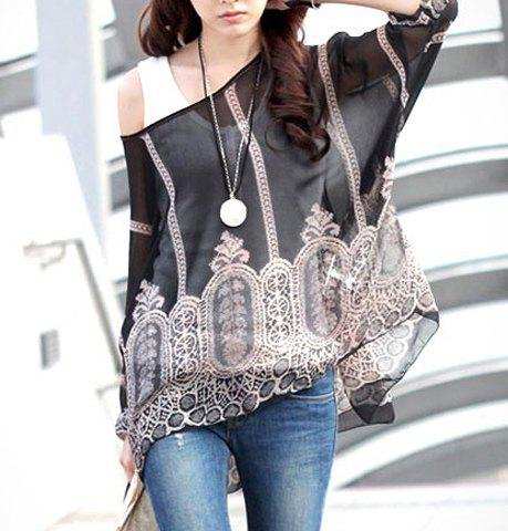 Store Stylish Scoop Neck 3/4 Sleeve Sleeve Printed Chiffon Blouse  For Women