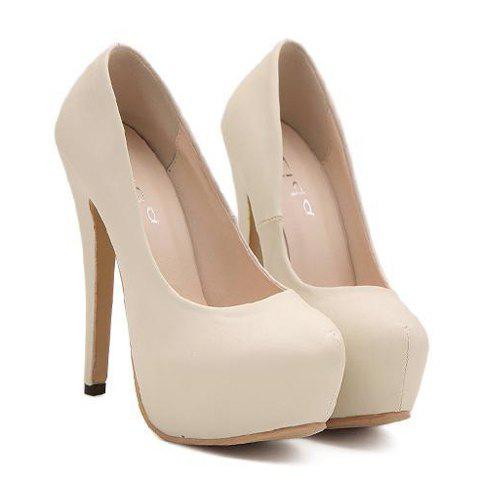 Trendy Sexy Stiletto and Round Toe Design Women's Pumps