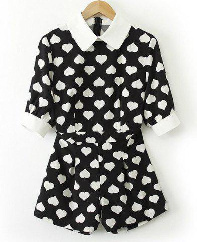 Chic Sweet Style Turn-Down Collar Heart Print Short Sleeve Women's Jumpsuits