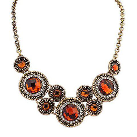 Online Retro Rhinestone Decorated Round Pendant Necklace For Women COLOR ASSORTED