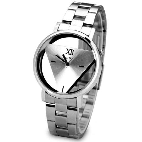 Fashion Superb Quartz Watch with Triangle Design Analog Indicate and Steel Strap Watchband for Women SILVER