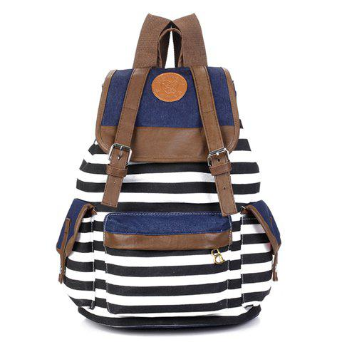 Fancy Preppy Striped and Splice Design Women's Satchel BLACK
