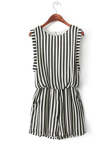 Affordable Casual Style Scoop Neck Stripes Print Chiffon Sleeveless Women's Jumpsuits