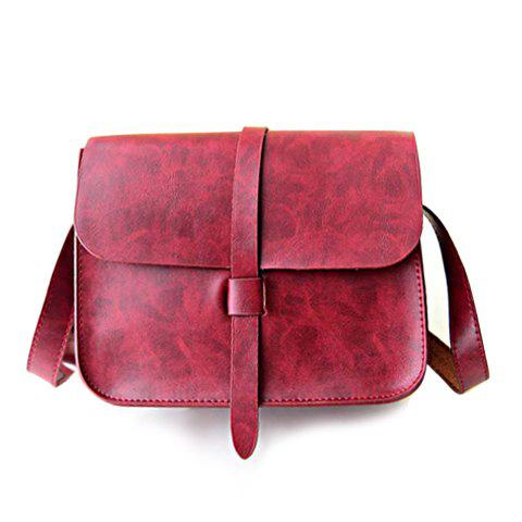 Fashion Vintage Style Solid Color and PU Leather Design Women's Crossbody Bag